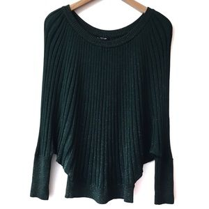 Bebe green sparkly ribbed sweater size large